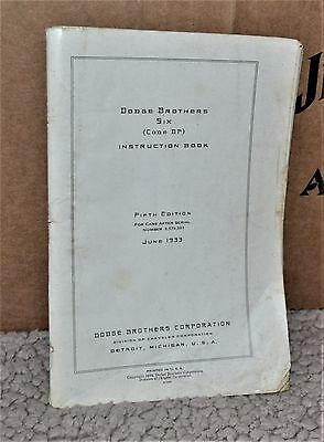 VTG 1933 Dodge Brothers Six Code DP Instruction Book 5th Edition