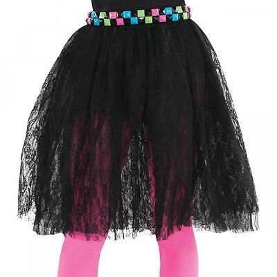 80s Black Lace Skirt Adult Halloween Costume Fancy Dress