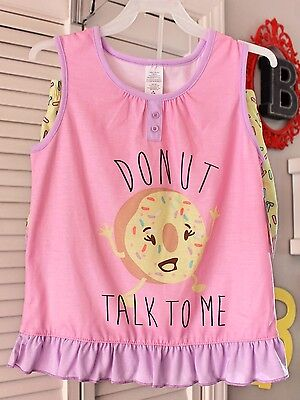 Girls 7-8 Two Piece Donut Tank & Shorts Sleepwear Set-NEW-Pajamas-Sprinkles