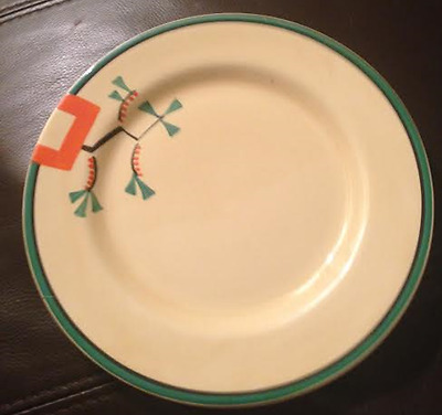 Art Deco, Hand Painted by Clarice Cliff, Ravel, Bizarre Side Plate 21cm  c1930's