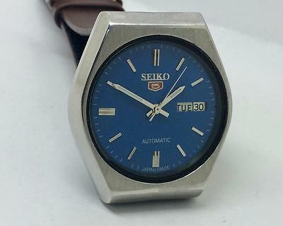 Vintage Excellent Seiko 6309-598A Automatic Day Date Blue Dial Wrist Watch Runs