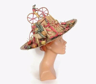 VTG 60s Over the Top Novelty Wide Brim Straw Sun Hat