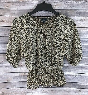 BCX Girls Top Size Large 8-10 Leopard Animal Print Blouse Peasant With Tank