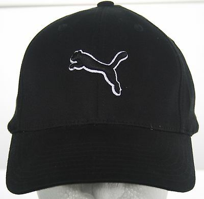 PUMA Black Fitted Hat - One Size FlexFit Baseball Cap - Leaping Cat Logo