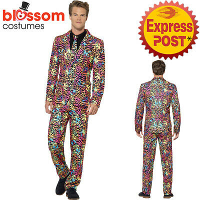 CA307 Neon Leopard Mens Stand Out Suit Stag Do Party Funny Fancy Formal Costume