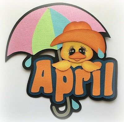Month Of April Title Premade Paper Piecing 3D Die Cut By My Tear Bears Kira