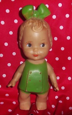 """Antique / Vintage  7"""" Girl Rubber Squeeze Doll Green Dress Green Bow In Hair"""