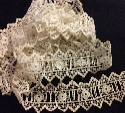 """Old Vintage  Remants of Chemical Lace Trim Insert W/Spits for Ribbon 78 x 1 1/2"""""""