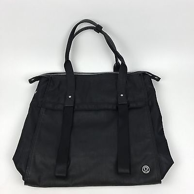 "Lululemon Follow Your Bliss Bag Yoga Gym Black Faux Leather Tote Laptop 15"" Rare"