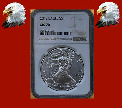 2017 $1 American Silver Eagle NGC MS70 Brown Label **This coin is beautiful**