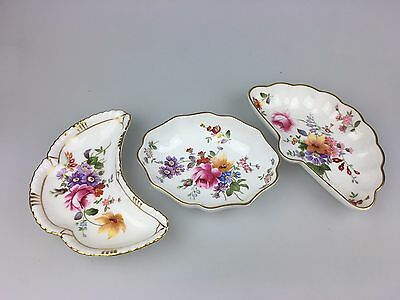 Vintage - Royal Crown Derby - Crown Roses - Lot Of 3 Little Dishes - England