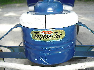 Vintage Blue & White Taylor Tot Baby Stroller-Walker-Buggy Wood & Metal