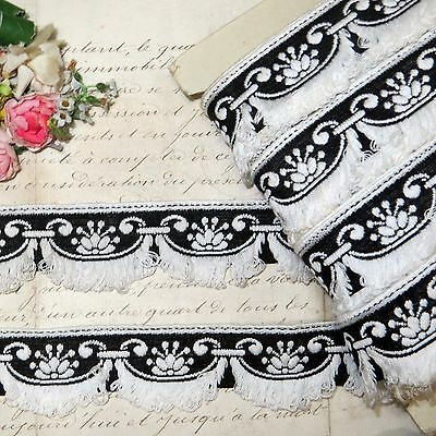 1y FRENCH BLACK WHITE COTTON TRIM FRINGE SCALLOP DRESS DOLLHOUSE JACQUARD FABRIC