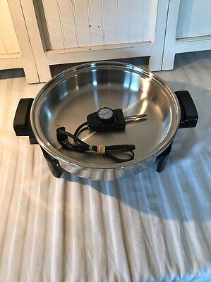 Pre-Owned Salad Master Electric Skillet #7256 12in No Lid Frying Pan NICE!!