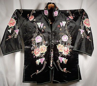Chinese 1930s Black Silk Embroidered Robe Shirt Jacket