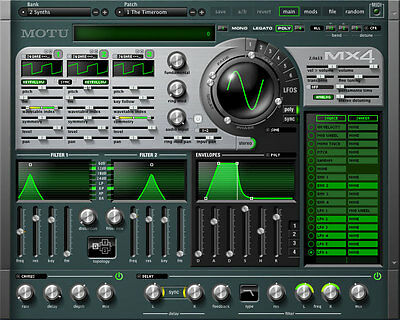 MOTU MX4 Virtual Synthesizer Plug-In with Hybrid Synthesis Engine & New Presets