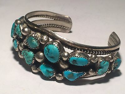 Navajo Old Vintage Beautiful 12 Turquoise Cobachon Sterling Silver Cuff Bracelet
