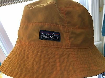 PATAGONIA Child's LARGE Reversible Bucket Hat Bright Yellow Monkeys Trees Blue