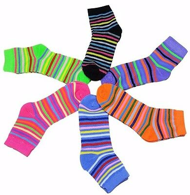 12 Pairs Girls Kids Toddler Striped Colors Crew Socks Stripes Size 4-6