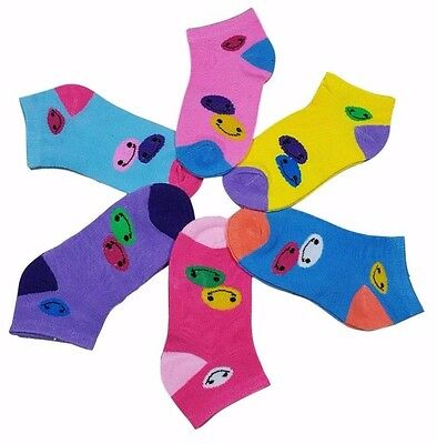 12 Pairs Girls Kids Toddler Happy Face Smiles Assorted Ankle Socks Size 4-6