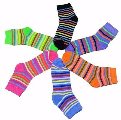 12 Pairs Girls Kids Toddler Striped Colors Crew Socks Stripes Size 6-8