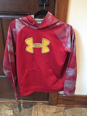 Under Armour Boys Youth XL Red Gray Yellow Hooded Sweatshirt