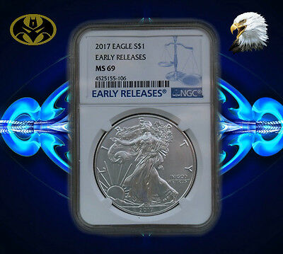 2017 1 oz Silver American Eagle $1 Coin NGC MS 69 Early Release
