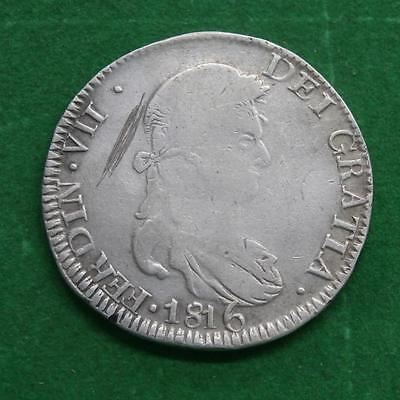 1816 Mexico 8 Reales Zacatecas provisional coin silver Zs AG