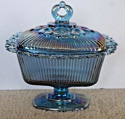 Indiana Blue Carnival Glass Open Lace Footed Candy Dish With Lid