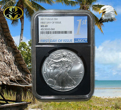 2017 1oz Silver Eagle (First Day of Issue) NGC MS69 FDOI