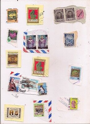 17 ECUADOR stamps on paper.