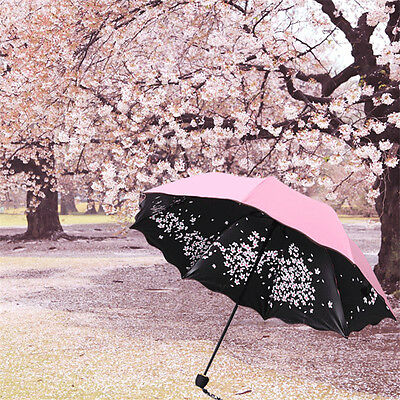 Creative Sakura Windproof Anti UV Sun / Rain Princess Umbrella Folding Sunshade