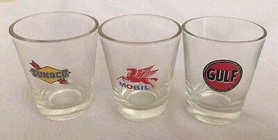 Vintage Lot of 3 Gas Companies Shot Glasses Sunoco, Gulf & Mobile