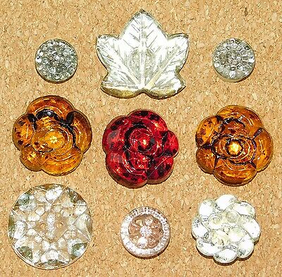 Antique Vintage Realistic Flower Gold Luster Glass Amber Ruby Buttons