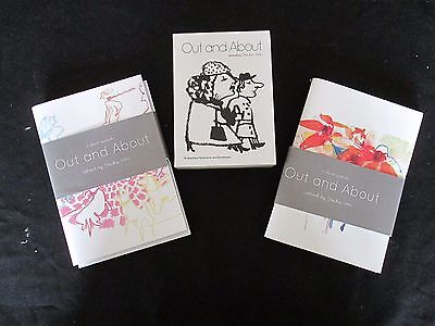 OUT AND ABOUT Artwork by STUDIO 1482 16 NOTE CARDS - SET of Four 64pp NOTE BOOKS