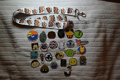 Disney trading 25 pin lot + Cars Mater LANYARD Hidden Mickey Star Wars Tsum more