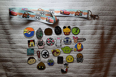 Disney trading 25 pin lot + Lightning Cars Mater LANYARD Mickey Star Wars Tsum