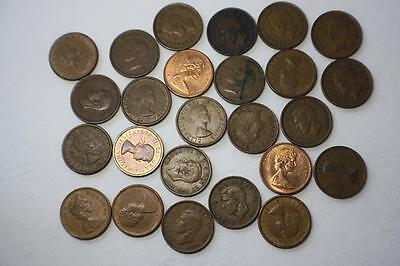 LOT OF 25 VALUED CANADA 1c CENT COINS COLLECTION 1940-1967