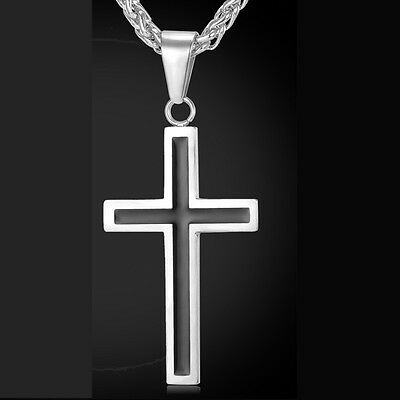 Cross Necklace Jewelry 316L Stainless Steel 18K Gold Plated Religious Christian