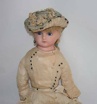 """Completely Original 26""""  Exquisite Antique Wax Doll Large, Lovely Blue Eyed Girl"""