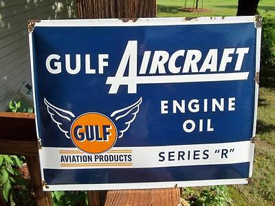 Gulf Aircraft Engine Oil Series R Porcelain Sign Airport Aviation Products Sign