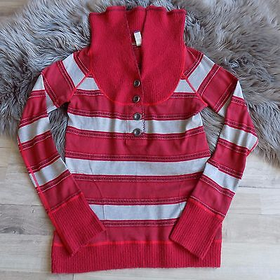 FREE PEOPLE Long Sleeve Striped Knit Top Shirt Sweater wide Collar Red metallic