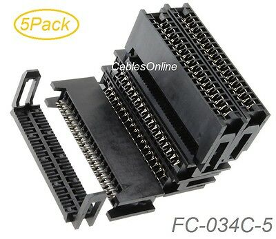 5Pack, 34-Pin Card Edge Female IDC Connector for 2.54mm Pitch Flat Ribbon Cable
