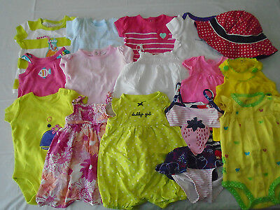 Used 18 Pc. Lot Of Newborn Baby Girl Clothes 0-6 Months Euc/vguc