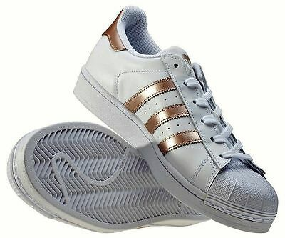 Adidas Superstar size 8 Women's Trainers Rose Gold / White NEW & 100% Genuine