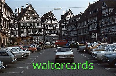 KODACHROME 35mm Slide 1975 1970s Schorndorf Germany ? Lots of cars houses shops