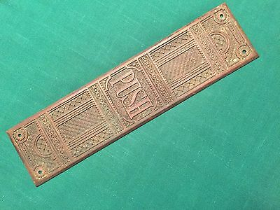 1 Antique Cast Bronze Victorian Eastlake Push Plate - Pat'd Apr. 22, 1884