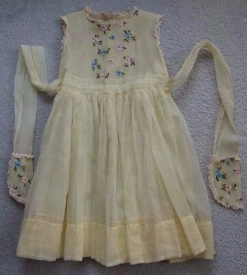 Vintage Girls Dress Youngland Sheer Yellow w/ Embroidered Flowers
