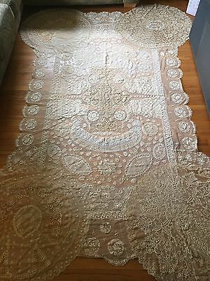 Antique Handmade Assorted Lace tablecloth