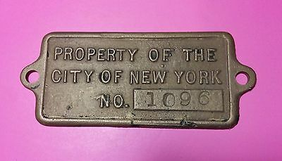 PROPERTY OF THE CITY OF NEW YORK CAR No.1096 Antique Brass Plaque NYC HISTORY!